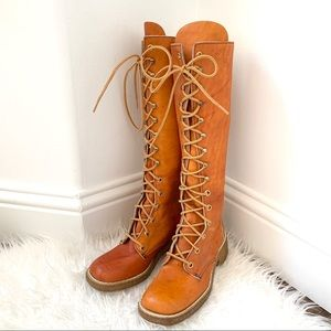 Vintage leather lace up knee high tall boots